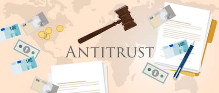 antitrust law competition hammer paper and money market trust lawsuit vector