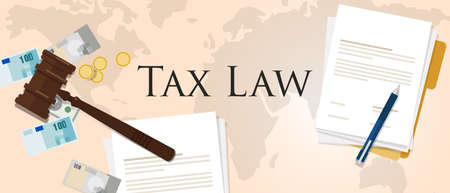 Tax law gavel hammer with money and paper international court of financial dispute revenue income financial verdict penalty vector Illustration