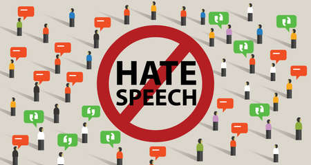 Stop hate speech conflict violence start from comments aggressive communication by crowd vector Illustration