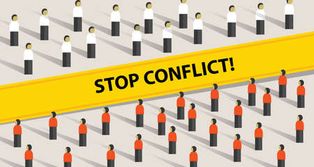 A stop conflict of two crowd mediation problem fight group of people vector.