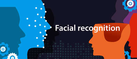 facial recognition dots in face show how machine detects someone. technology ion phone and computing vector Illustration