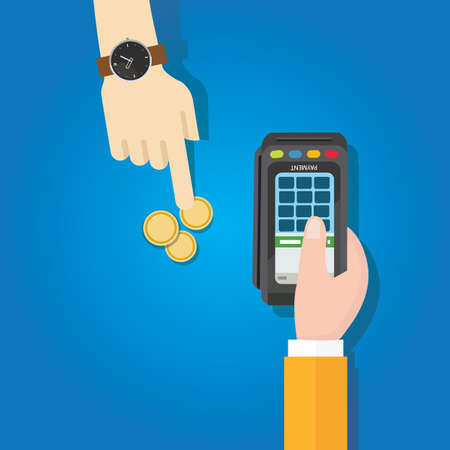 coin transaction payment method hand holding machine terminal 向量圖像