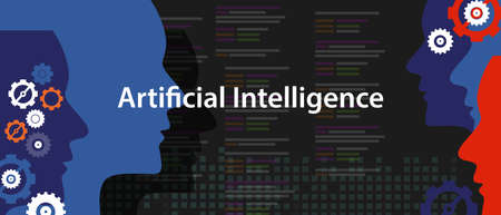 artificial intelligence AI concept of technology futuristic head human programming Illustration