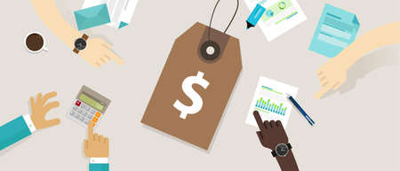 pricing strategy price tag define value counting production cost analysis vector