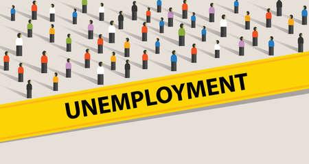 tasa de desempleo personas que protestan multitud ilustración muchas personas que buscan trabajo