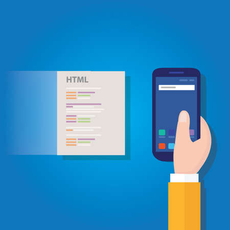 accelerated mobile pages fast in smart phone optimized speed programming coding fast lightning bolt thunder icon fast charging Illustration