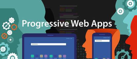 Progressive Web Apps smart phone web application development vector