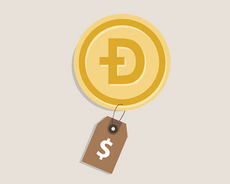 doge coin price value money gold currency finance vector Illustration