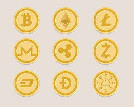 A crypto currency coin set vector illustration. Иллюстрация