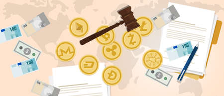 law legal aspect of crypto-currency coin set bitcoin digital currency virtual money exchange finance illustration vector