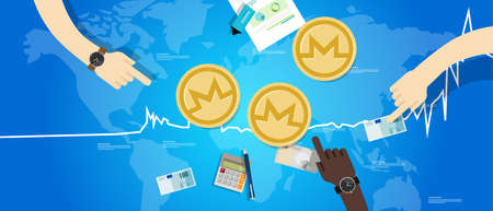 wealth management: Monero coin increase exchange value digital virtual price up chart blue Stock Photo