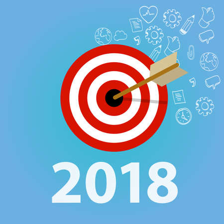 2018 new year resolution and business target dart and arrow vector. Illustration