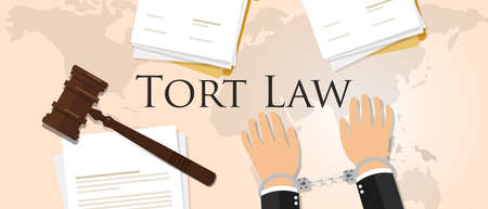 handcuffed: Tort law concept of justice hammer gavel judgment process legislation paper document vector