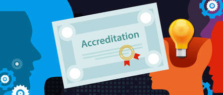 accreditation authorized organization business certificate paper with stamp Illustration