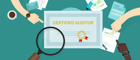 certified auditor in internal financial certification and information technology company hand working on data with magnifier Иллюстрация