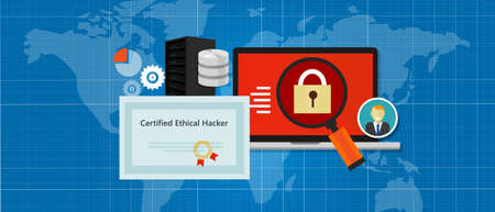 Certified Ethical Hacker security expert in computer penetration consulting company education paper standard Illustration