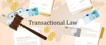 Transactionele wet zakelijke geld concept van rechtvaardigheid hamer hamer oordeel proces wetgeving papieren document internationaal Vector Illustratie