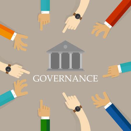 Goed concept van corporate governance. Verantwoordelijke organisatie transparant beheer symbool met handen en gebouw pictogram.