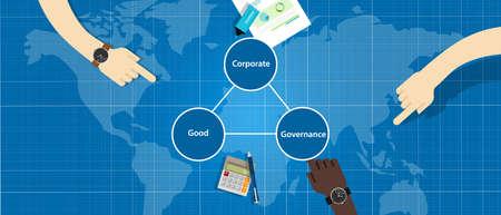 Buen concepto de gobierno corporativo. símbolo de gestión transparente de organización responsable con vector de manos