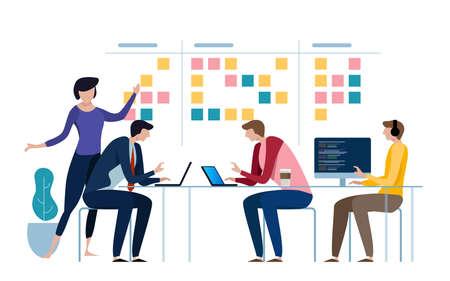 Agile team aziendale di programmatori che lavorano e fanno un po 'di pianificazione sulla lavagna di mischia. Lavagna bianca e lavoro di squadra sui processi, metodologia dello schema. Illustrazione vettoriale Vettoriali
