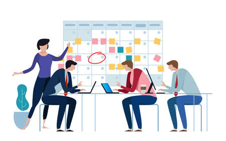 Company business team working together planning and scheduling their operations agenda on a big spring desk calendar. Drawing circle mark and sticky notes. Flat style illustration