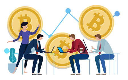 Golden Bitcoins chart up background. Graph of the growth of price. team work on investment management monitoring. vector
