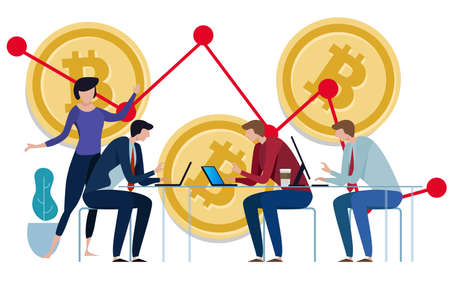 Golden Bitcoins chart down background. Graph of the negative growth of price. team work on investment management monitoring. vector