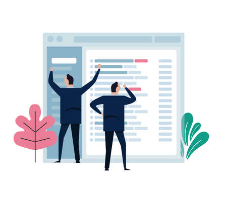 Concept of team work represent in small character working on big email application screen. Develop manage software design. vector illustration Ilustração