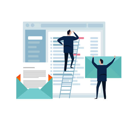 Business man standing looks at large screen. Data analysis, checking email.Digital technologies, computer device. small people in ladder. flat design illustration.