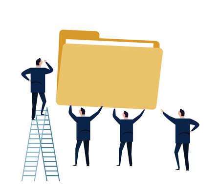 File management storage data folder business concept illustration. Vector file of man team work working together