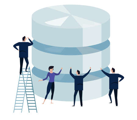 Big data. concept of managing large database by business technology team. small people around big storage. vector