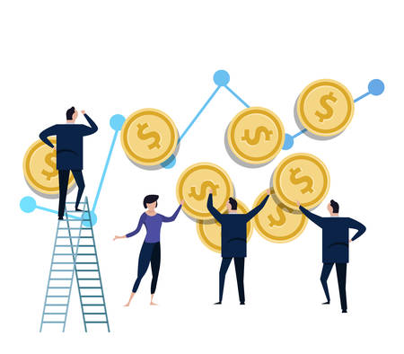 Team of tiny miniature figurines propping up the dollar coin money. concept of money investment management and inflation in economy or business. vector