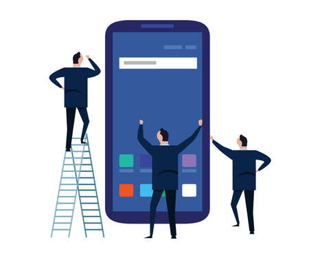 Business people using mobile phone or smartphone standing around a large phone screen. building mobile apps team work together.. vector Ilustração