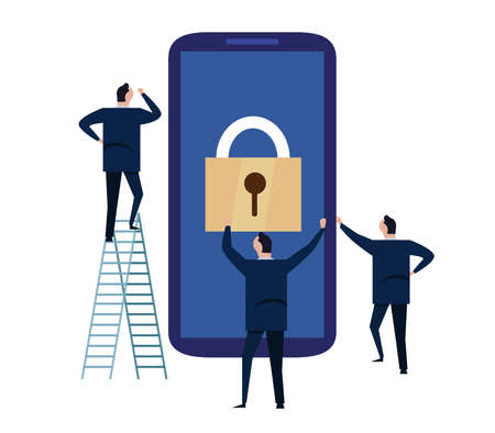Mobile device security. cyber security concept. protecting personal information and data with smartphone. illustration of big screen phone with padlock used by business people vector