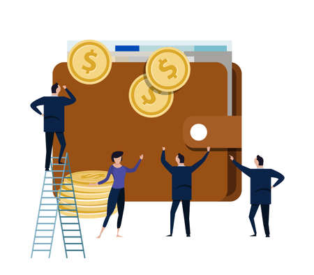 big wallet with small people business man around it. concept of office managing money dollar cash vector