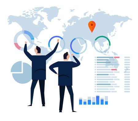 Stratégie d'entreprise concept design plat. Données d'analyse et investissement. Éléments infographiques de l'examen financier de l'entreprise. Illustration vectorielle. Devant le grand écran