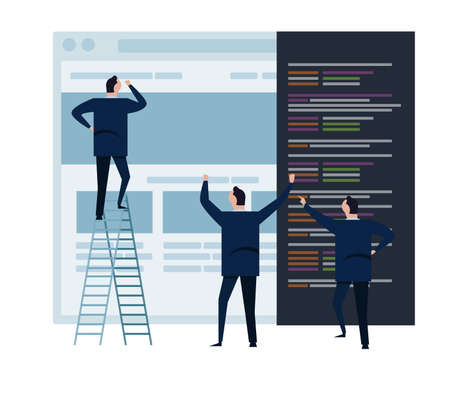 web develop and web design team ,and people business team working on wireframe coding programming concept small people with large screen vector