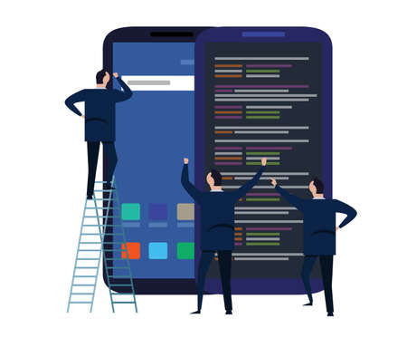 mobile application and design development process for responsive device concept .with group business team working and project brainstorming . flat cartoon character design vector