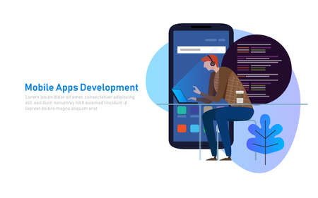 Mobile App Development, Programmer code on laptop. Smart phone application. Vector illustration flat