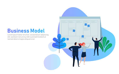 Illustration concept the man present with whiteboard business model canvas. Vector illustration flat. team work together as corporation company plan written in large paper.