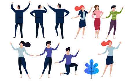 office concept business people vector illustration flat design. collection in many pose man and woman. flat