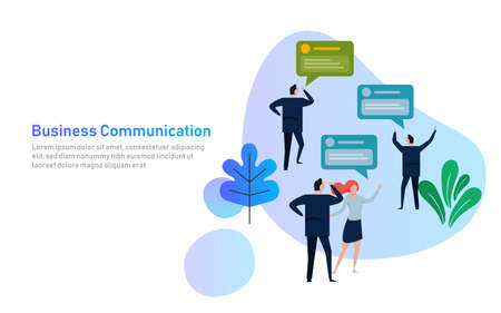 Business People Group Chat Communication Bubble, Discussing Communication Social Network Flat Vector Illustration. Corporate company communication