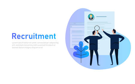 Recruitment process. selecting candidate by human resource. Business man select from printed CV, magnifying glass, flat style banner design of human resource management concept Vector Illustratie