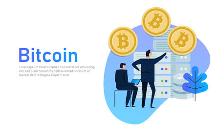 Flat bitcoin online mining concept web infographics illustration. Man on computer and bit coin mine service server. Business people with server.