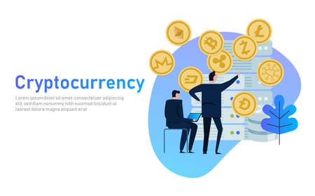 Cryptocurrency and blockchain composition. Big data processing, server station of future, data center. business people managing coin mining. flat vector