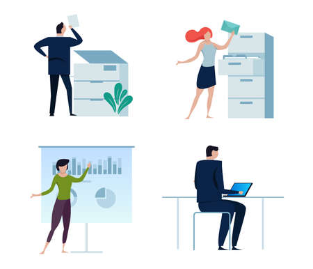 Set of business people or office workers, man and woman, in various characters and activities, simple design. copy, folder file,presentation,working on laptop vector