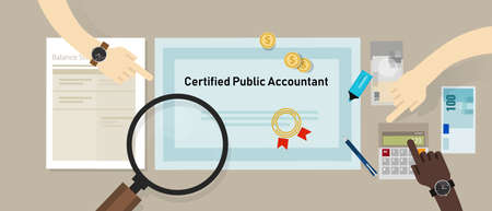 Certified public accountant (CPA) paper on a table. Business concept of accountant education certification. vector 스톡 콘텐츠 - 114917385