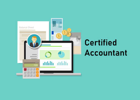 Certified public accountant CPA paper on a table. Business concept of accountant education certification. vector