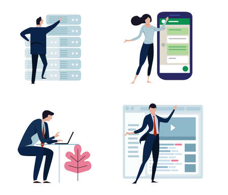 Set of business people or office workers, man and woman, in various characters and activities, simple design. big smart phone, server, internet and laptop. vector