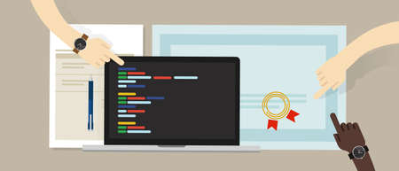 programming skill certificate certification with laptop and coding app script software programs. education skill vector